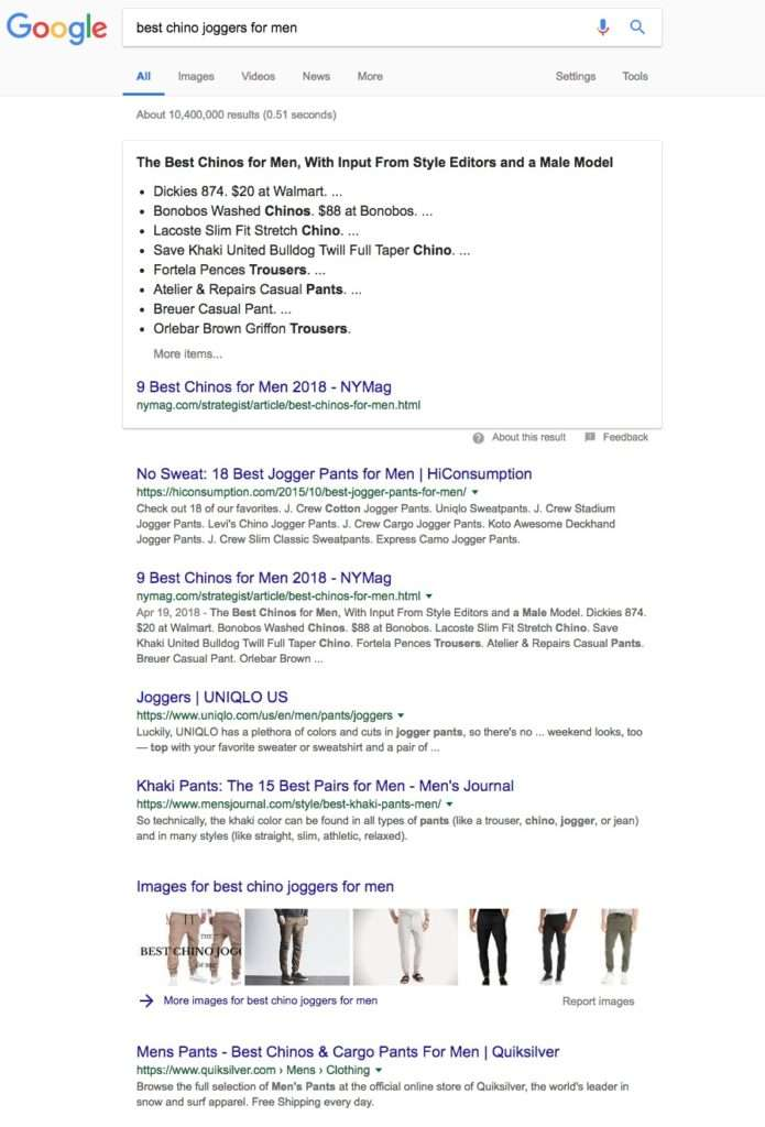 Google Search View - best chino joggers for mens