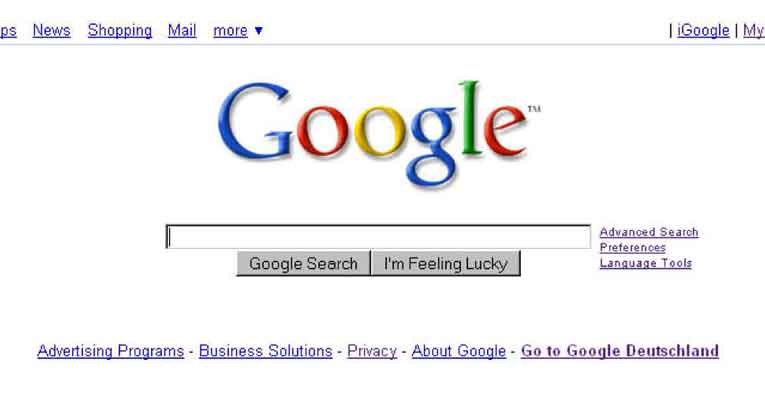 Google Homepage in 2008