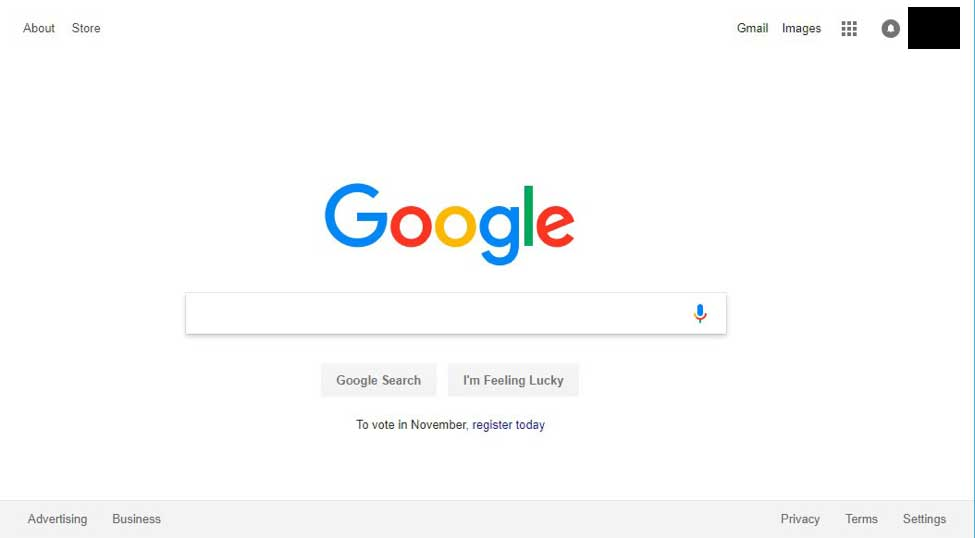 Google homepage in 2018