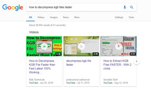 Google Search Video Snippet