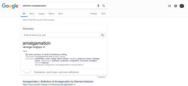 Google's Quick Definition Result